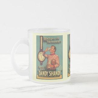 VINTAGE AD DANDY SHANDY BARWARE BREW BEER MUGS! FROSTED GLASS COFFEE MUG