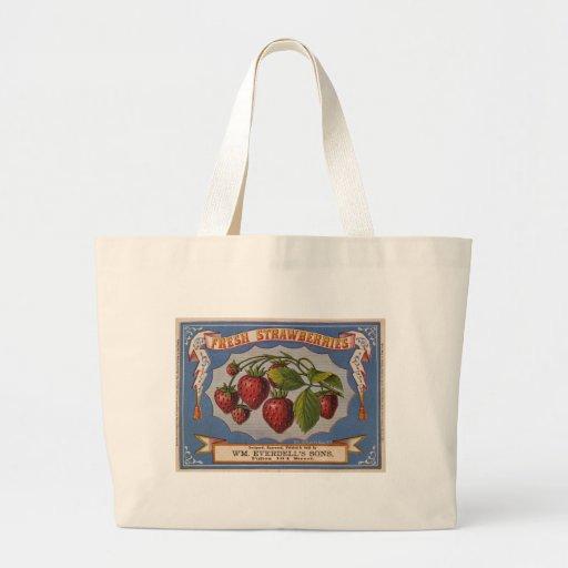 Vintage Ad for Fresh Strawberries circa 1868 Canvas Bag