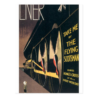 Vintage Ad for the Flying Scotsman train Postcard