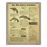 Vintage ad guns, rifles, revolvers and ammunition posters