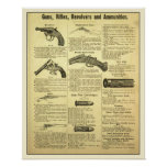 Vintage ad guns, rifles, revolvers and ammunition print