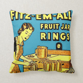 Vintage Ad Kitchen Home Canning Fruit Jar Ring Box Throw Pillow