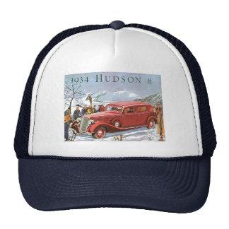 Vintage Ad label 1934 Hudson 8 Trucker Hat Cap
