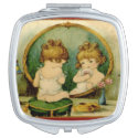 Vintage Ad Little Girl Looking in a Mirror Compact Mirror