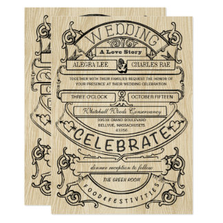 Vintage Ad Modern Typography Wedding Card