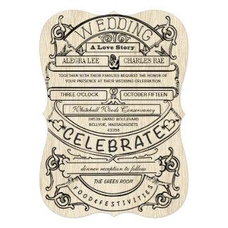 Vintage Ad Modern Typography Wedding 5x7 Paper Invitation Card