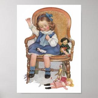 Vintage Ad Poster of Little Girl & Dolls