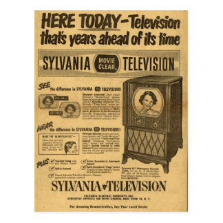 Vintage ad poster: Sylvania television 1950s Post Card