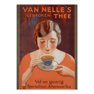 Vintage Ad Posters, Woman Drinking Tea Poster