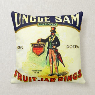 Vintage Ad Uncle Sam Farm Home Canning Fruit Jar Throw Pillow