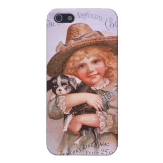 Vintage Ad with Girl and Puppy Case For iPhone SE/5/5s