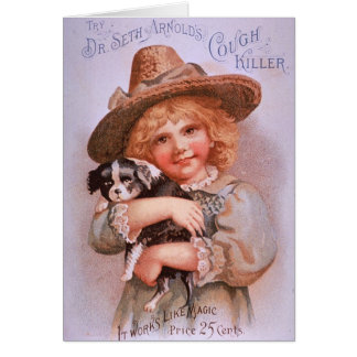 Vintage Ad with Girl and Puppy Notecard