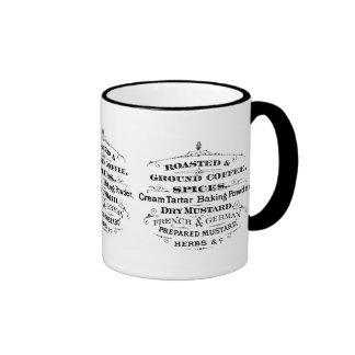 Vintage Ad Words Coffee Spices Herbs Black Scroll Ringer Coffee Mug