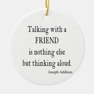 Vintage Addison que habla cita de la amistad del Adorno Navideño Redondo De Cerámica