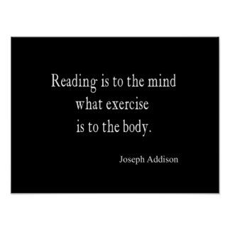 Vintage Addison Reading Mind Inspirational Quote Poster