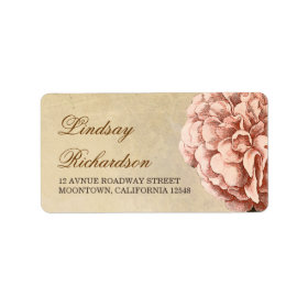 vintage address label with pink peony blossom