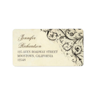 vintage address labels with antique flourishes