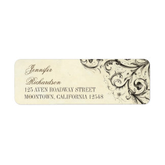 vintage address labels with elegant flourishes