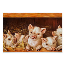 Vintage Adorable Baby Pigs Poster