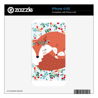 Vintage adorable cute mother fox wolf and her baby iPhone 4S skin