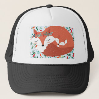 Vintage adorable cute mother fox wolf and her baby trucker hat