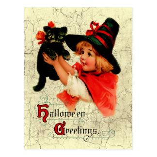 Vintage Adorable Little Witch Postcard