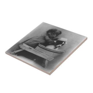 Vintage Adorable Puppy Dogs Bath Photography Tile