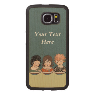 Vintage Adorable Three Girls at Table Eating Wood Phone Case