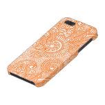 Vintage adornado Paisley floral del naranja y blan iPhone 5 Protectores