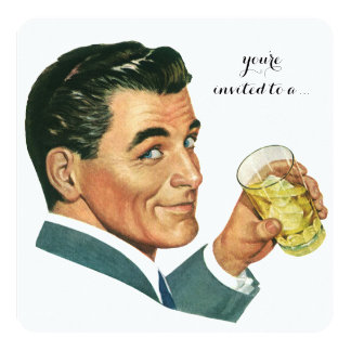 Vintage Adult Male Birthday Party Cocktails Cheers 5.25x5.25 Square Paper Invitation Card