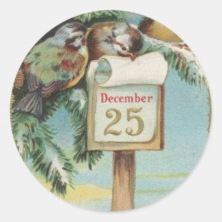 Vintage Advent Calendar Classic Round Sticker