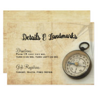 Vintage Adventure Travel Wedding Details Card