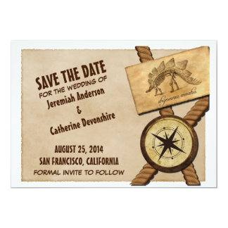 "Vintage Adventure Wedding Save the Date Invite 5"" X 7"" Invitation Card"