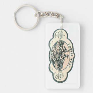 Vintage advert: Bison chasing old tandem bicycle Single-Sided Rectangular Acrylic Keychain