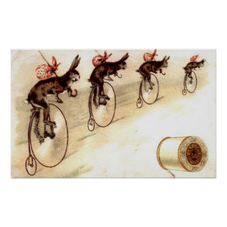 Vintage Advert - Rabbits on Bikes Poster