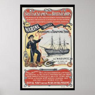 Vintage Advertisement for British Seamen Nautical Poster