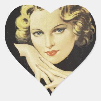 Vintage Advertisement Hand Cream Woman Blond Hair Heart Sticker