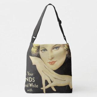 Vintage Advertisement Portrait Woman Blond Hair Crossbody Bag