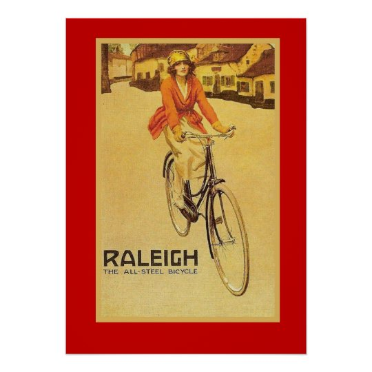 Raleigh all steel Bicycle vintage advertising wall art poster reproduction.