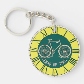 Vintage Advertising Bicycle Graphic Time Keychain