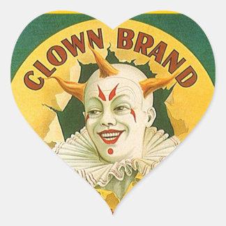 Vintage Advertising Clown Brand Fruit Sparr Co. Heart Sticker