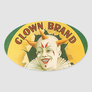 Vintage Advertising Clown Brand Fruit Sparr Co. Oval Sticker