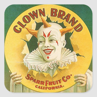 Vintage Advertising Clown Brand Fruit Sparr Co. Square Sticker