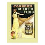 Vintage advertising, Cooper's milk oil fluid Postcard