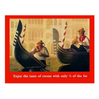 Vintage advertising, Enjoy the taste of cream Postcard