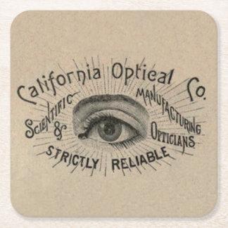 Vintage Advertising Eye Optical Square Paper Coaster