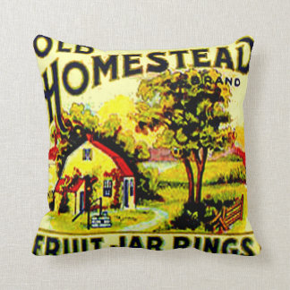 Vintage Advertising Farm Home Canning Fruit Jar Throw Pillow