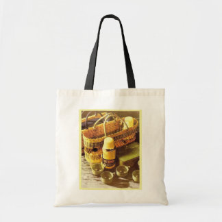 Vintage advertising flask picnic tote bag