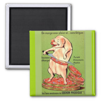 Vintage advertising, French, Pork joints 2 Inch Square Magnet