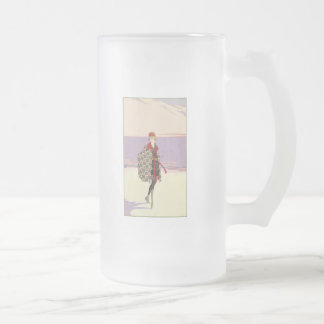 Vintage Advertising - Girl on Beach Frosted Glass Beer Mug